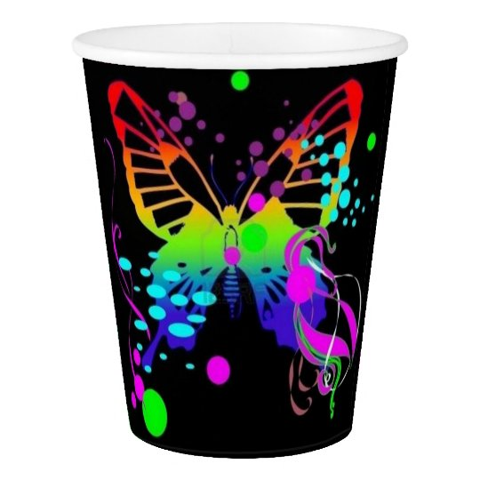 Colourful Butterfly on Black Party Cups Paper Cup