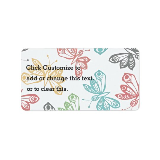 Colourful butterfly pattern label