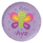 Colourful Butterfly Personalized Melamine Plate