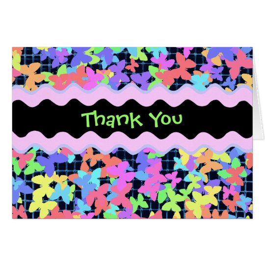 "Colourful Butterfly ""Thank You"" card"