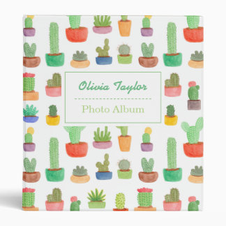 Colourful Cactus and Succulents Pattern Binder