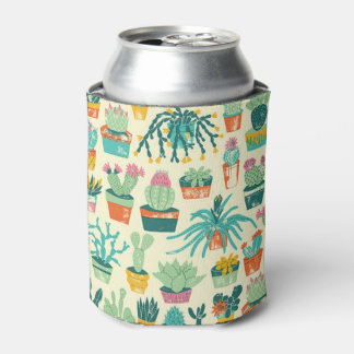 Colourful Cactus Flower Pattern Can Cooler