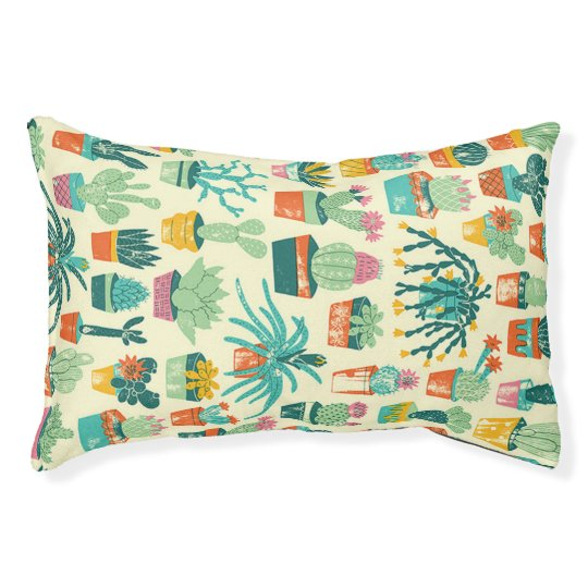 Colourful Cactus Flower Pattern Small Dog Bed