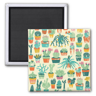 Colourful Cactus Flower Pattern Square Magnet