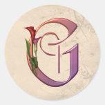 Colourful Calla Initial G Round Sticker