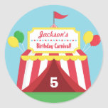 Colourful Carnival Themed Kids Birthday Party Round Sticker