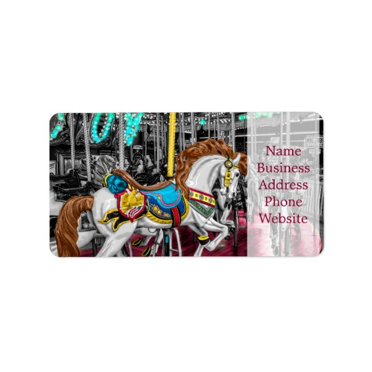 Colourful Carousel Horse at Carnival Label