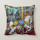 Colourful Carousel Horse at Carnival Throw Pillow