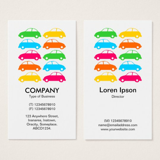 Colourful Cars 02 - Vertical Business Card
