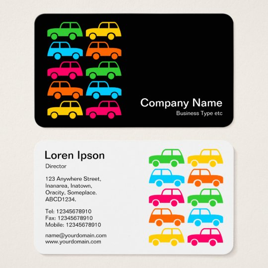 Colourful Cars (alternating sides) Business Card