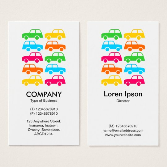 Colourful Cars - Vertical Business Card