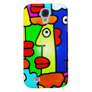 Colourful Cartoon Faces with Fat Red Lips (m6p) Galaxy S4 Cover