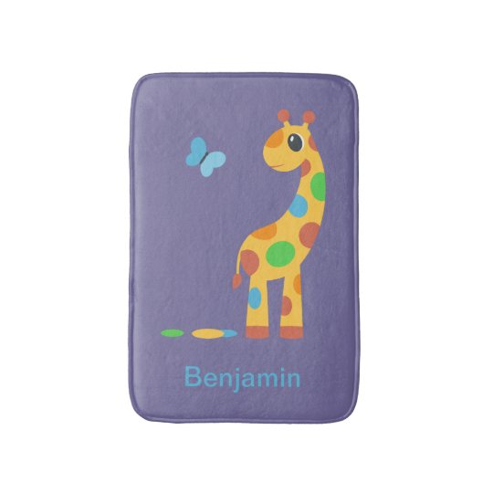 Colourful Cartoon Giraffe and Butterfly Bathroom Mat