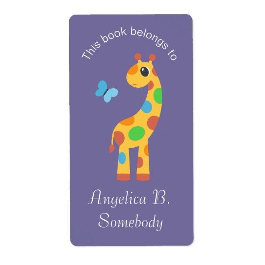 Colourful Cartoon Giraffe and Butterfly Bookplate Shipping Label