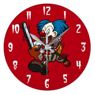 Colourful Chainsaw Clown Halloween Horror Cartoon Large Clock