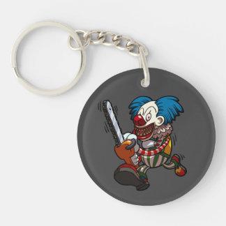 Colourful Chainsaw Clown Halloween Horror Cartoon Single-Sided Round Acrylic Keychain