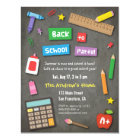 Colourful Chalkboard Back to School Party Card