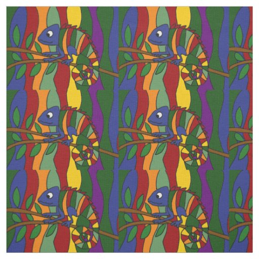 Colourful Chameleon Abstract Art Fabric