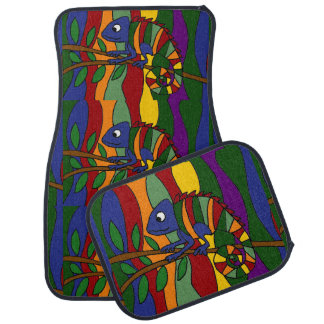 Colourful Chameleon Art Abstract Car Mat