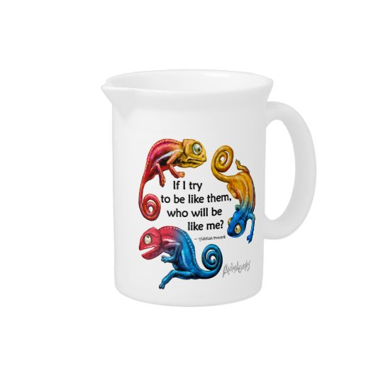 Colourful Chameleon Character & Quote Pitcher