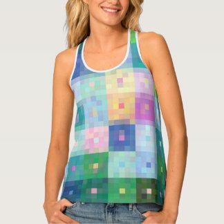Colourful checks pixel block pattern tank top