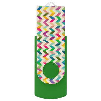 Colourful chevron green usb USB flash drive