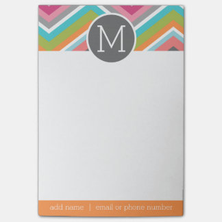 Colourful Chevron Pattern with Custom Monogram Post-it Notes
