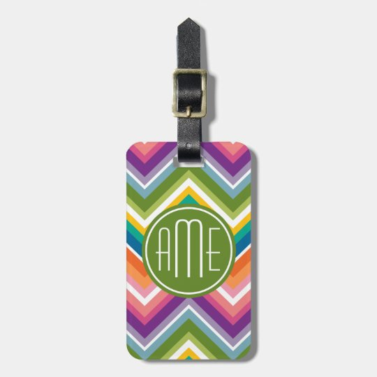 Colourful Chevron Pattern with Monogram Luggage Tag