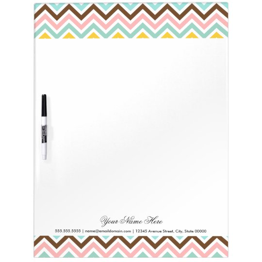 Colourful Chevron Zigzag Stripes Pattern Dry Erase Board