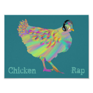 Colourful Chicken Rap Quirky Music Psychedelic Art Poster