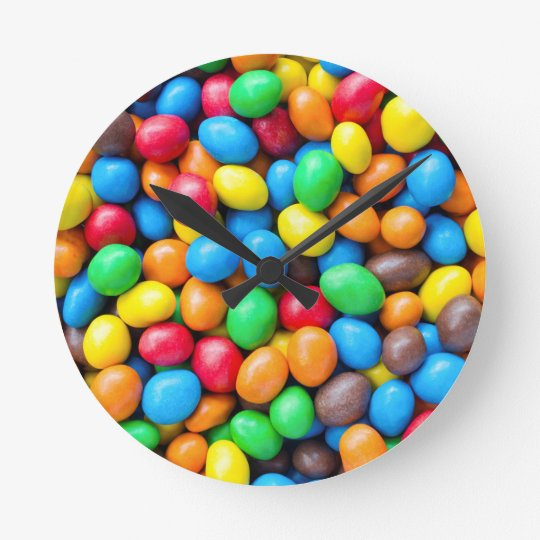Colourful Chocolate Coated Sweets Round Clock