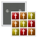 Colourful Christian Crosses Pinback Buttons