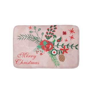 Colourful Christmas Bouquet Bath Mat