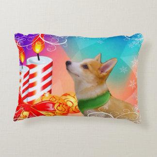 Colourful Christmas Corgi puppy Decorative Pillow