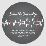 Colourful Christmas Lights Address Label Round Sticker