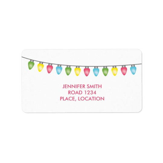 Colourful Christmas Lights Label