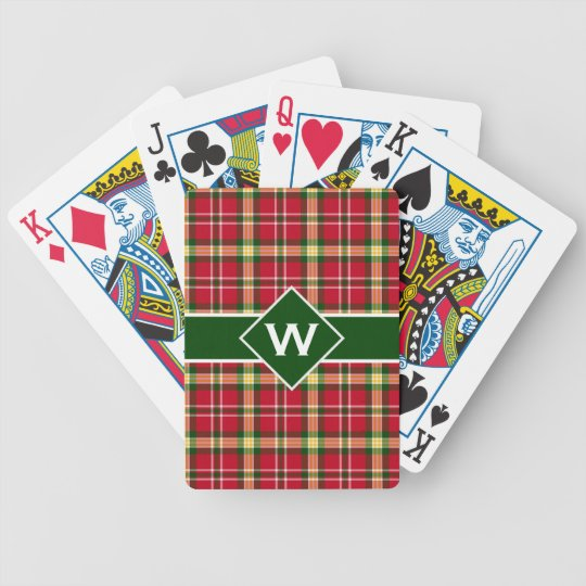 Colourful Christmas Plaid Monogram Bicycle Playing Cards
