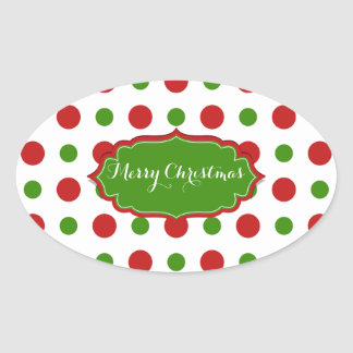 Colourful Christmas red and green Polkadots Oval Sticker