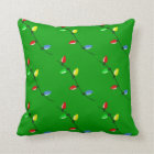 Colourful Christmas Tree Bulb Lights Custom Throw Pillow