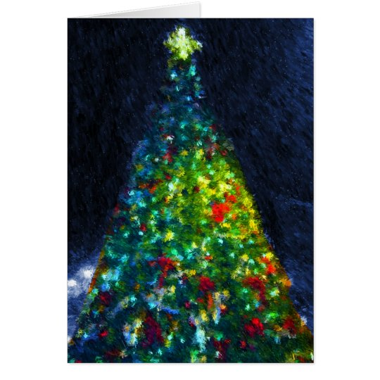 Colourful Christmas Tree Painting Card