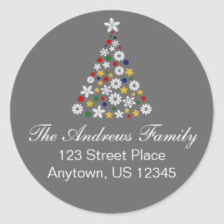 Colourful Christmas Tree Round Address Label Round Sticker