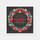 Colourful Christmas Wreath Dinner Party Invite Paper Napkin