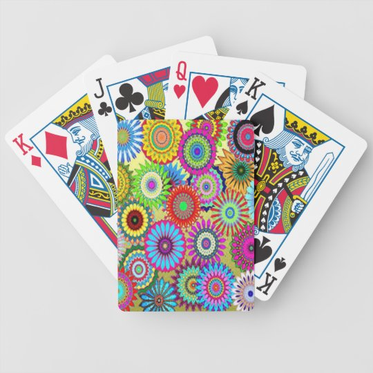 Colourful Circle Flowers Bicycle Playing Cards