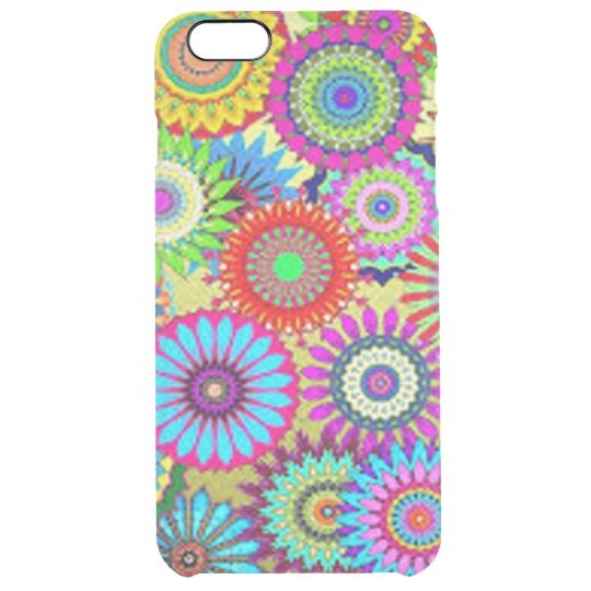 Colourful Circle Flowers Clear iPhone 6 Plus Case
