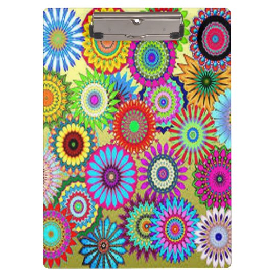 Colourful Circle Flowers Clipboard