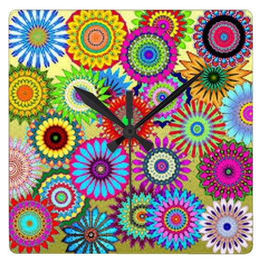 Colourful Circle Flowers Clocks
