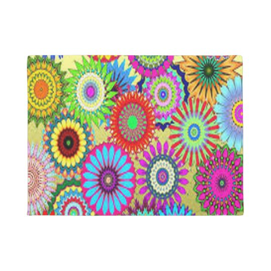 Colourful Circle Flowers Doormat
