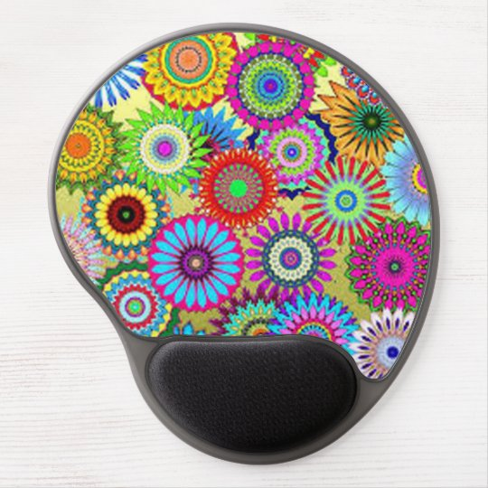 Colourful Circle Flowers Gel Mouse Pad