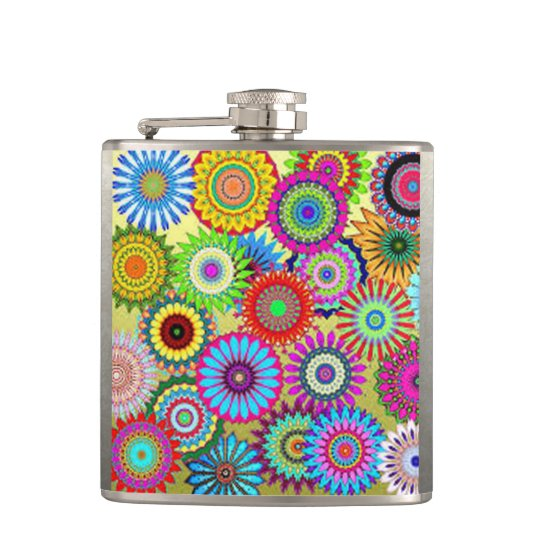 Colourful Circle Flowers Hip Flask