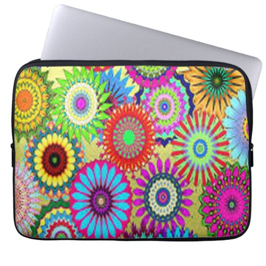 Colourful Circle Flowers Laptop Sleeves